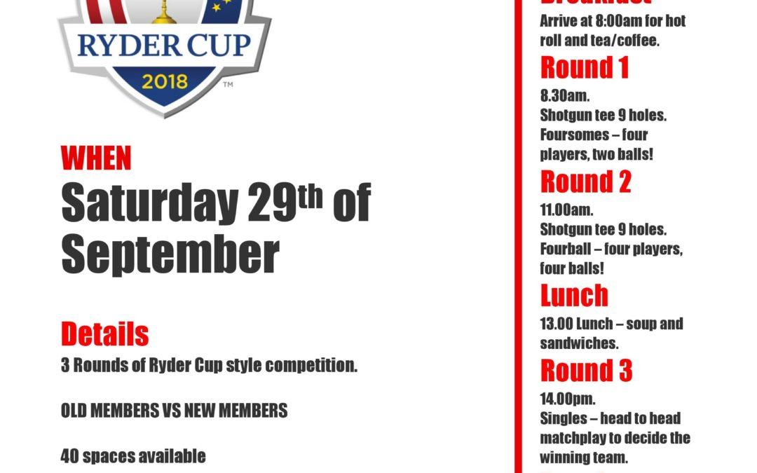 Ryder Cup 2018 – Sat 29th Sept